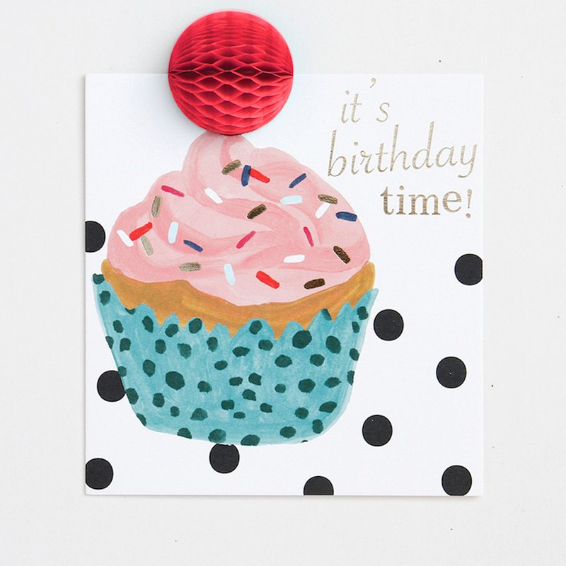 【caroline gardner】Pom Pom it's birthday time cupcake card