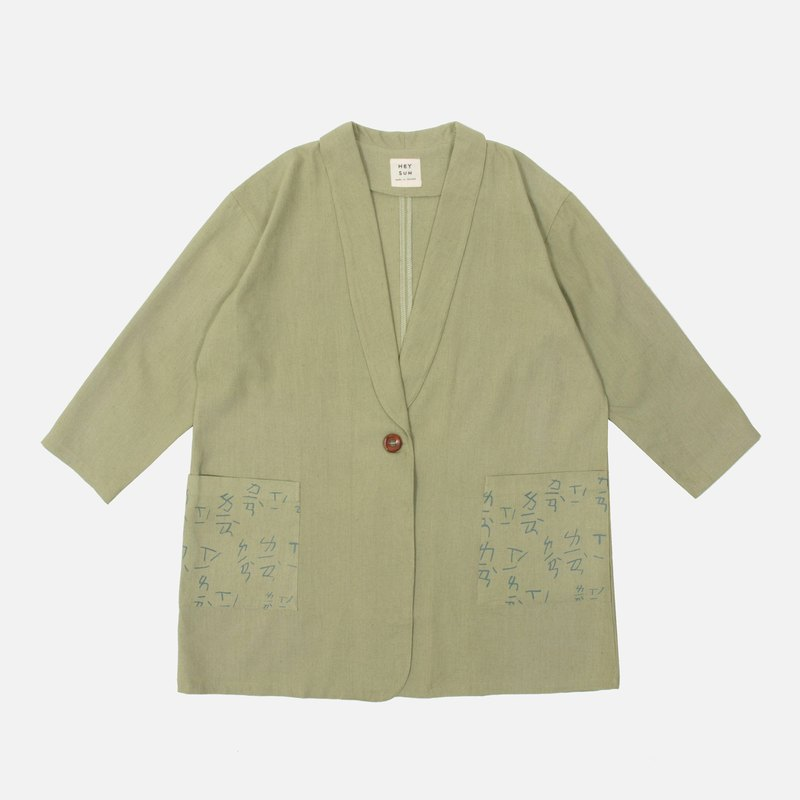 Practice lapel cotton and linen blazer-gray-green