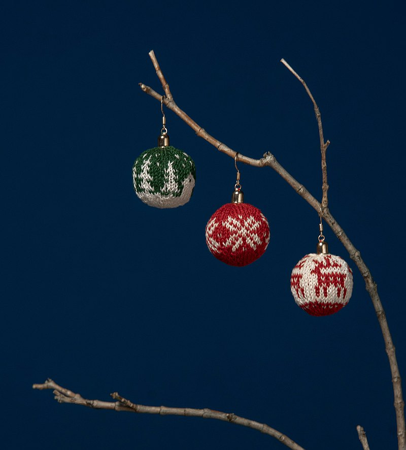 Knit Christmas Ball Earrings (a Pair)