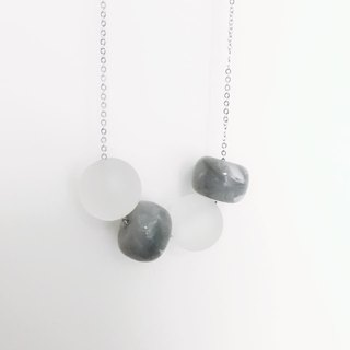 Grey Wooden Ball Necklace Birthday Gift Bridesmaid Gift