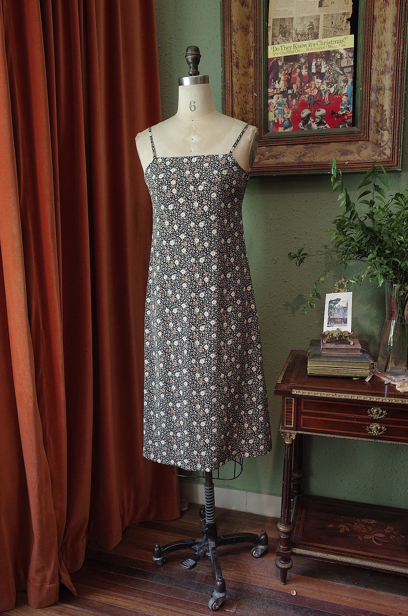 vintage dress碎花吊帶連衣裙古著洋裝