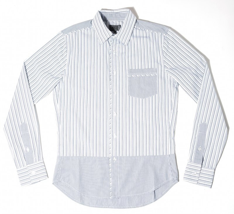 Blue and white striped long-sleeved shirt stitching