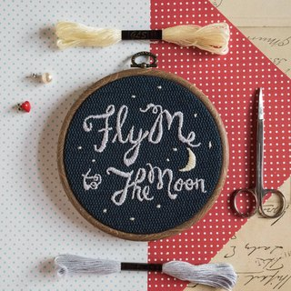 Hand Embroidery Hoop Art Gift -  Fly Me to The Moon