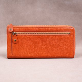 Italian Vegetable Genuine Leather Lady Long Wallet Zipper Wallet Purs Orang