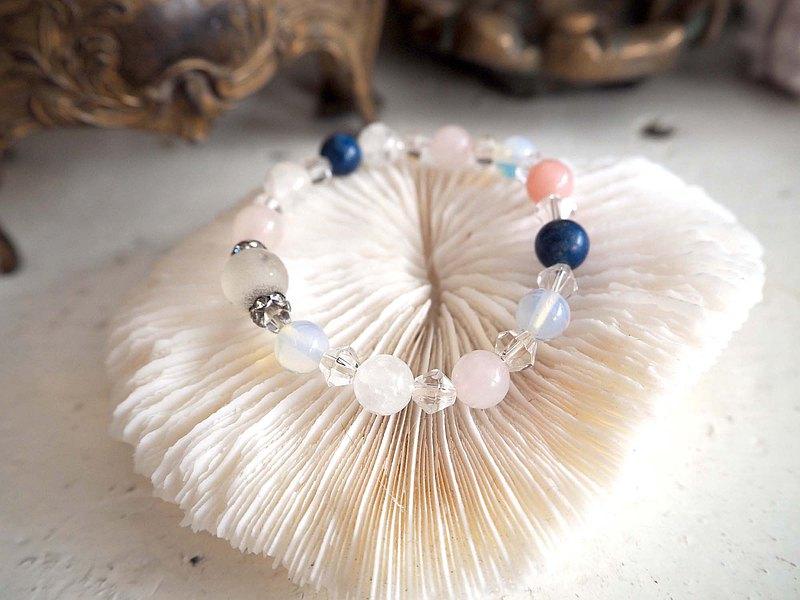 粉晶白晶水晶招桃花手鏈 高貴優雅 日本二手中古珠寶首飾古著