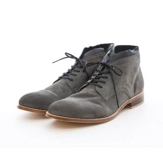 ARGIS leather bottom two-color stitching desert boots #42215墨灰-Japan handmade