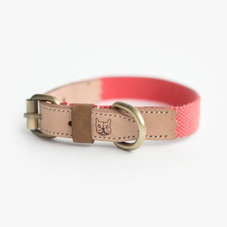 Natural Leather Salmon Orange Collar (M) | For Dogs