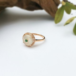 Nostalgia - boutique design series: natural ice jade (Burma jade) 750K gold ring diamond ring