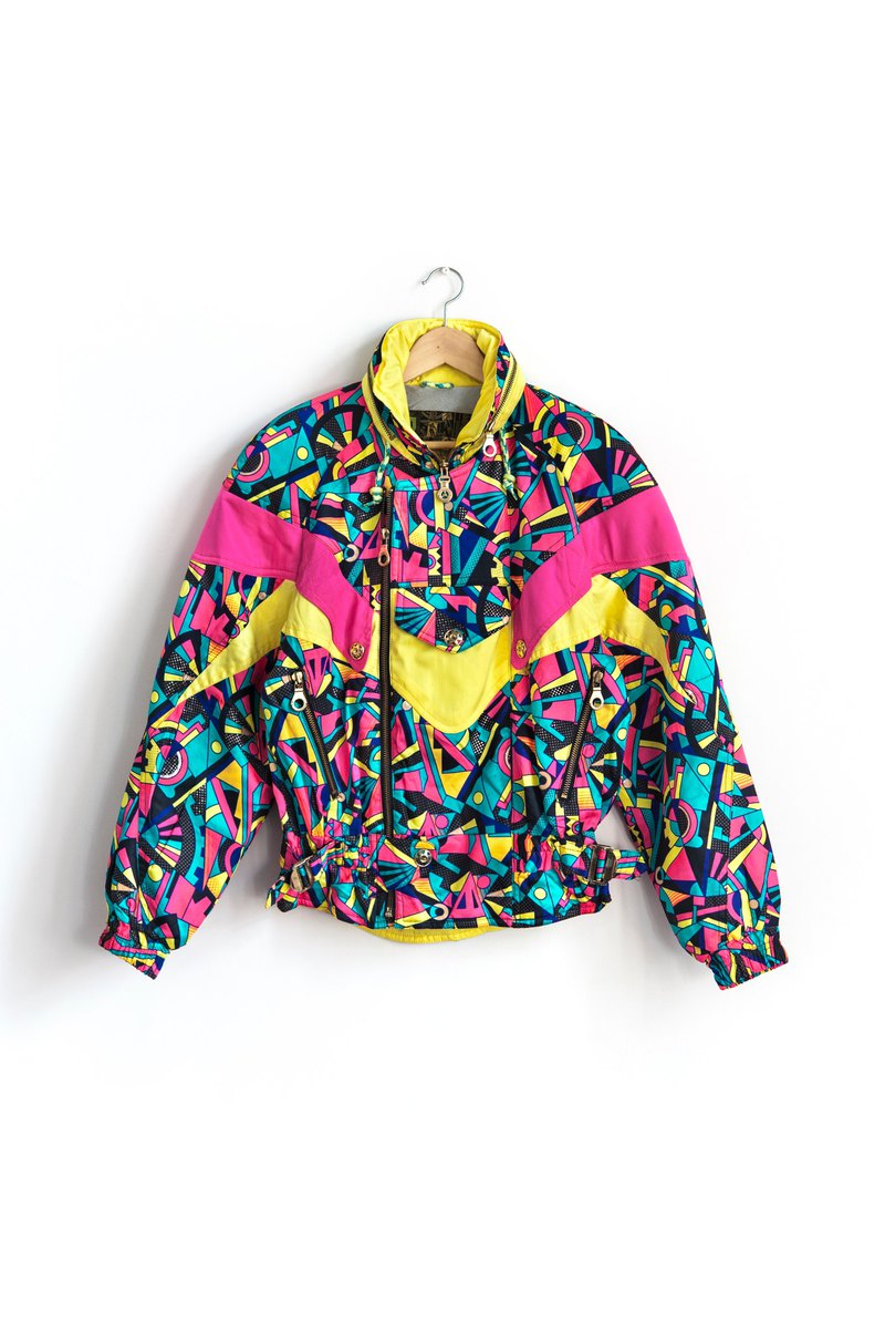 Vintage multicolor building blocks ski coat with vintage jacket