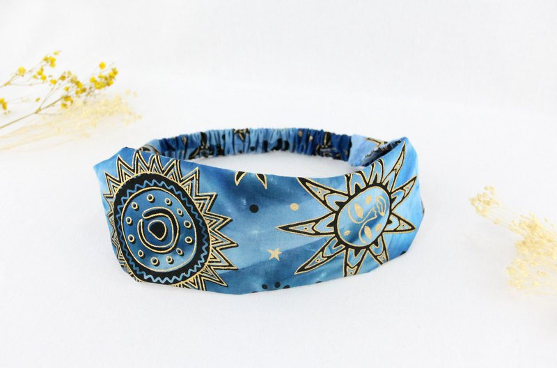 Handmade elastic hair band batik cloth cotton [sun moon] bamboo bag