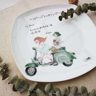 Sweet dialogue - 飙车伟士牌情侣-square bone china plate