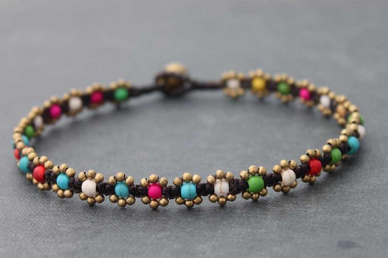 Candy Stone Color Mix Woven Beaded Anklets, Rainbow Mini Daisy Brass Bead