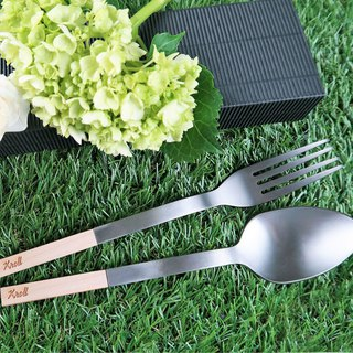 [KROLL] pure titanium household tableware set - spoon + fork (maple)