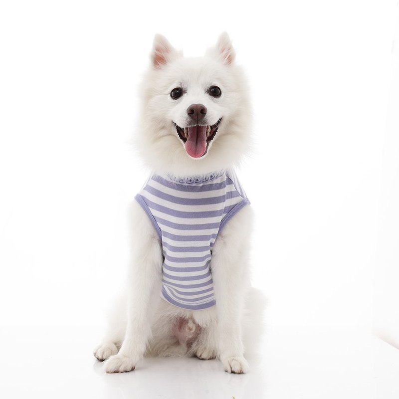 Round neck edging hollow shape striped vest pet clothes