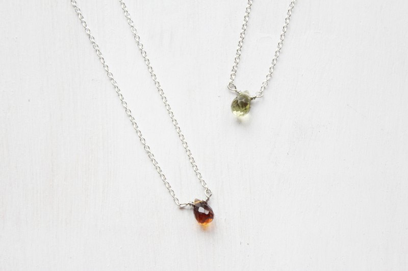 【OCTOBER 10-birthstone-Tourmaline】lucky clavicle silver necklace  (adjustable)