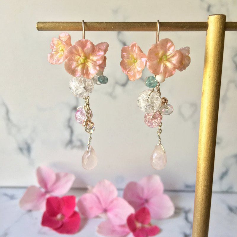Handmade earrings cherry blossom crystal string