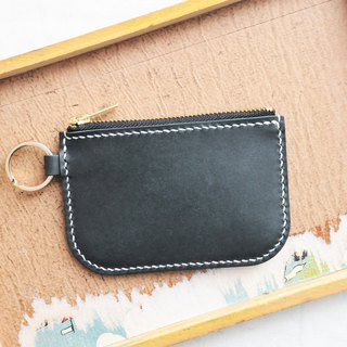 Classic zip coin purse well stitched leather material bag wallet wallet loose paper bag Italian vegetable tanned