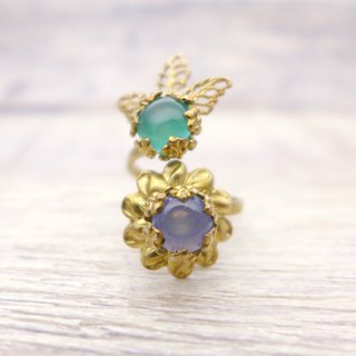 Flower and fruit of glass with brass, Coiled ring, Blue, Vintage, Antique