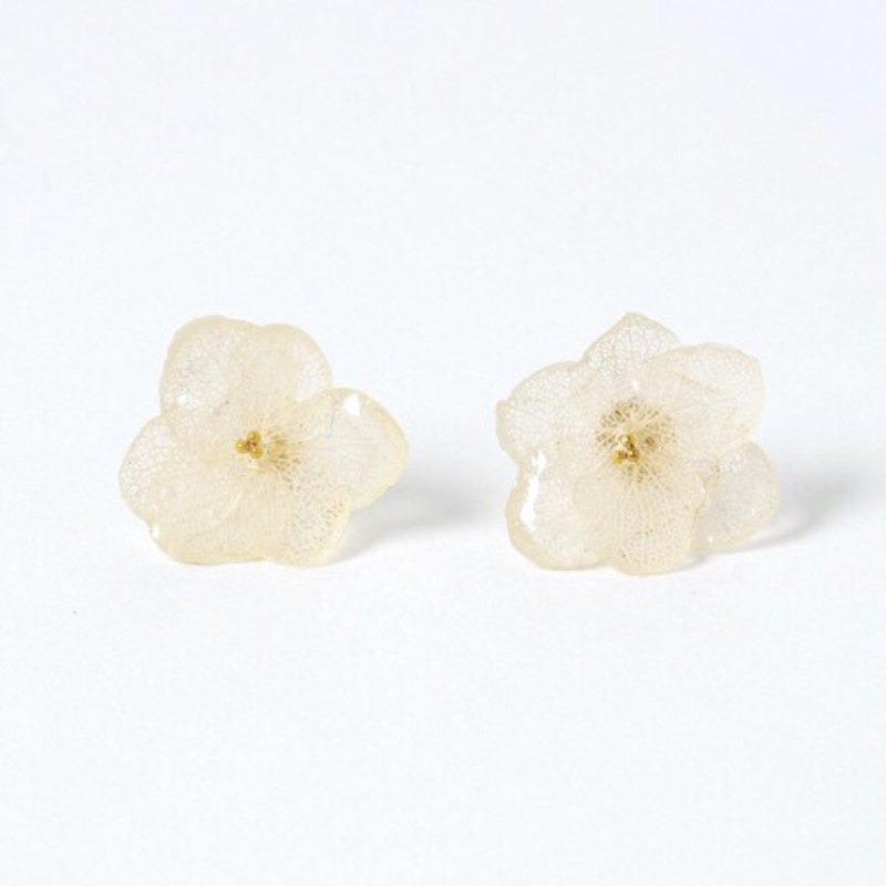 Hydrangea Earrings / White