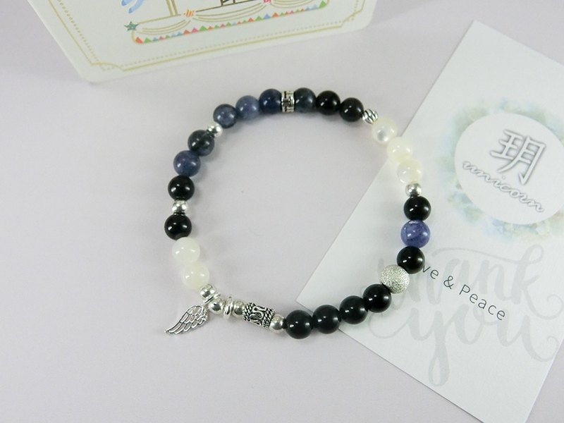 Night Moon Bracelet - Hand made Natural Stone Beads Black and White - Yue. Unicorn - natural stone 925 sterling silver Tibetan silver