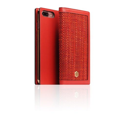 SLG Design iPhone 8/7 Plus D5 CSL canvas mixed wind side lift type leather case - red