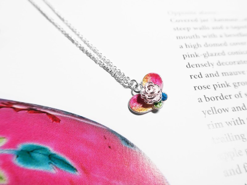 Butterfly in Love with Flowers | Handmade 925 Silver Necklace