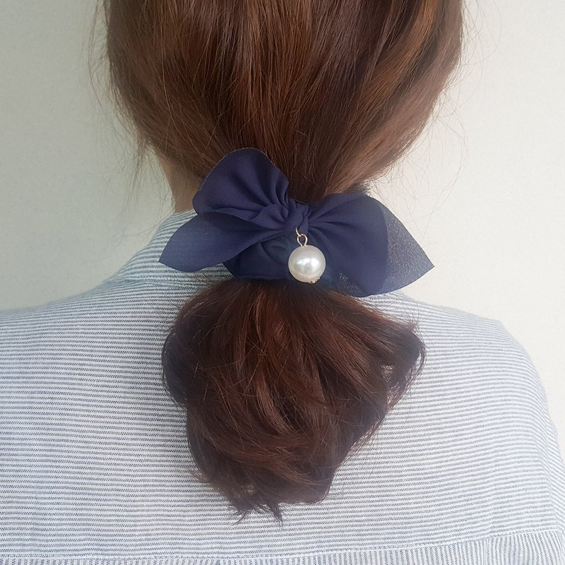 Simple navy ribbon mood Romantic Hair Scrunchie,shushu,Hair Tie