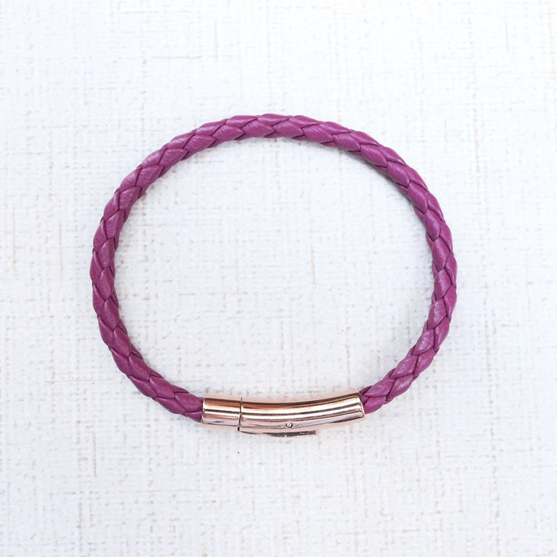 316 German titanium steel rose gold fastener 4mm purple leather braided bracelet