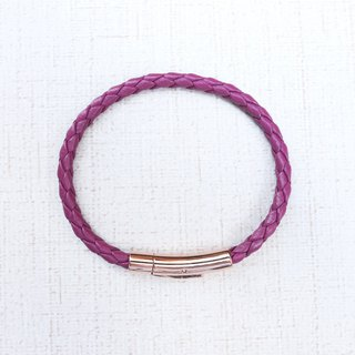 German stainless steel rose gold buckle purple leather braided bracelet
