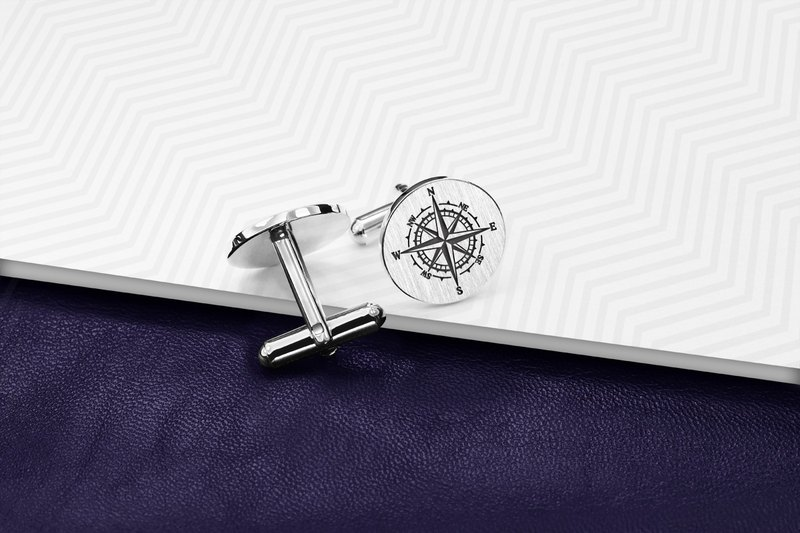 Compass Cufflinks engraved, Wedding Cufflinks for groom - 925 Silver Cufflinks
