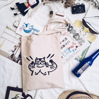 Handmade silk-printed canvas bag-strong cat