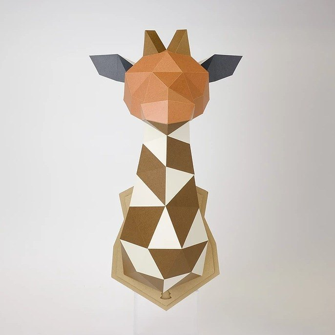 Bog craft three-dimensional animal paper art GIRAFFE - giraffe L large wall hanging (with bottom version) WALL