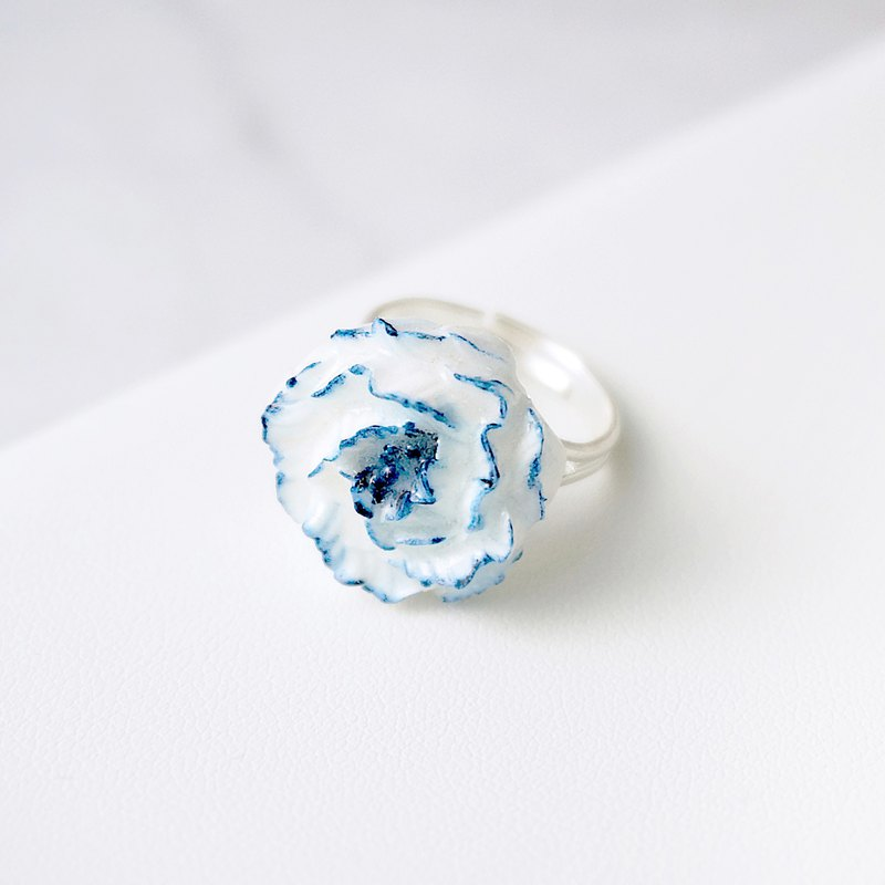 Blue-and-White Porcelain Color Peony Ring =Flower Piping=