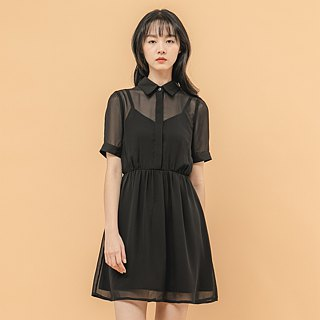 Chiffon Fog Flower Splicing Dress _8SF102_Black