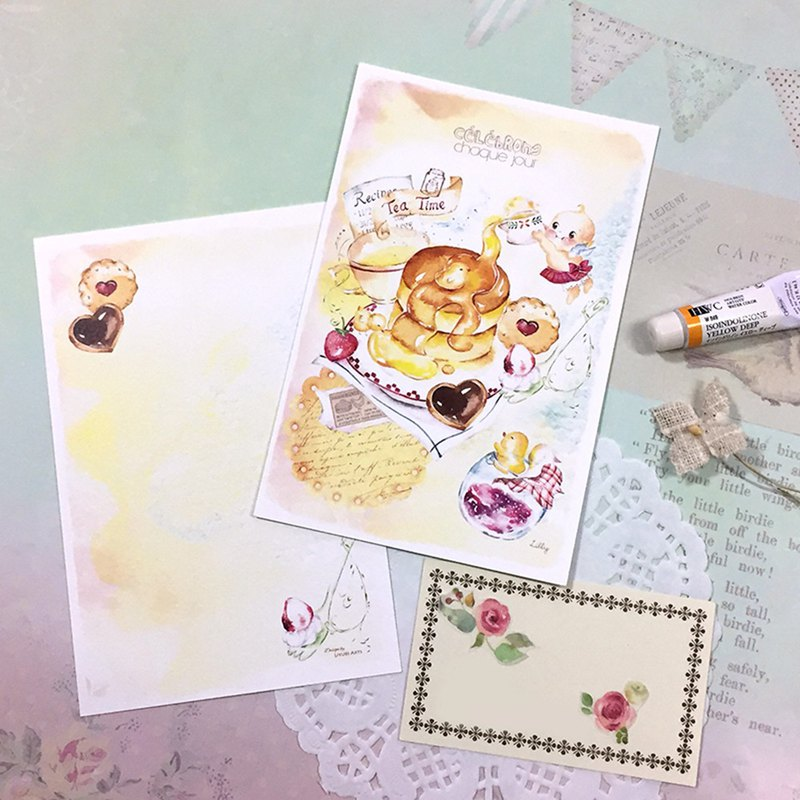 Watercolor postcard / greeting card - Happiness afternoon tea