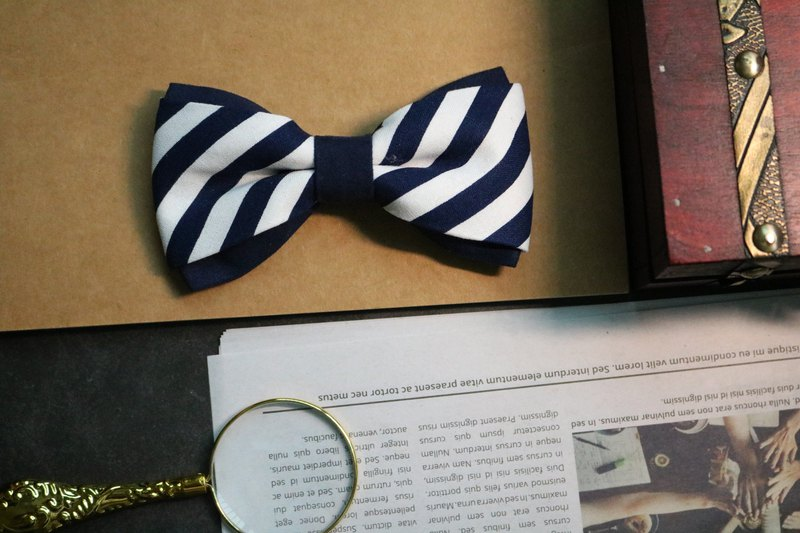 Blue suede stitching striped tie double-color matching bow