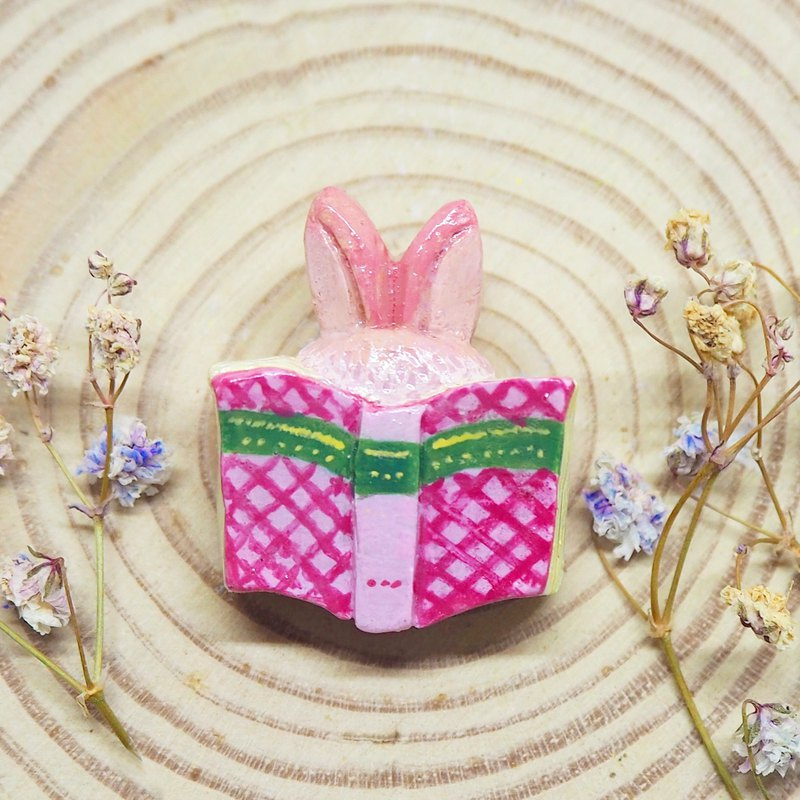 Rabbit and book handmade brooch