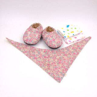 Country Pink Flower - Miyue Baby Gift Box (toddler shoes / baby shoes / baby shoes + 2 handkerchief + scarf)