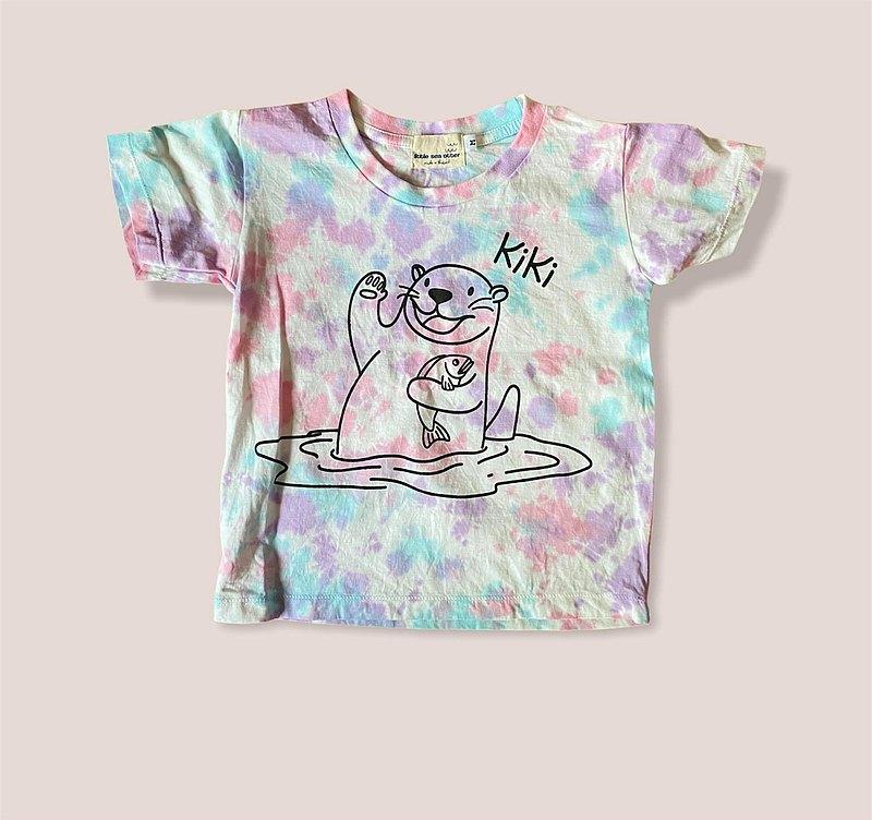 KiKi Otter粉色和藍色Tiedye兒童T卹