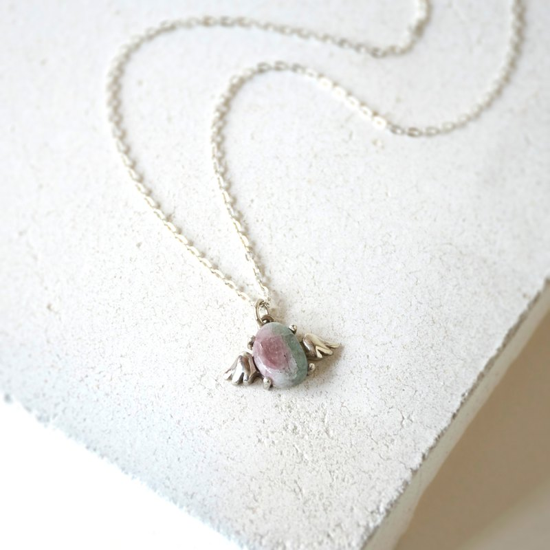 Handmade Tourmaline Angel wings Pendant with Sterling Silver Necklace