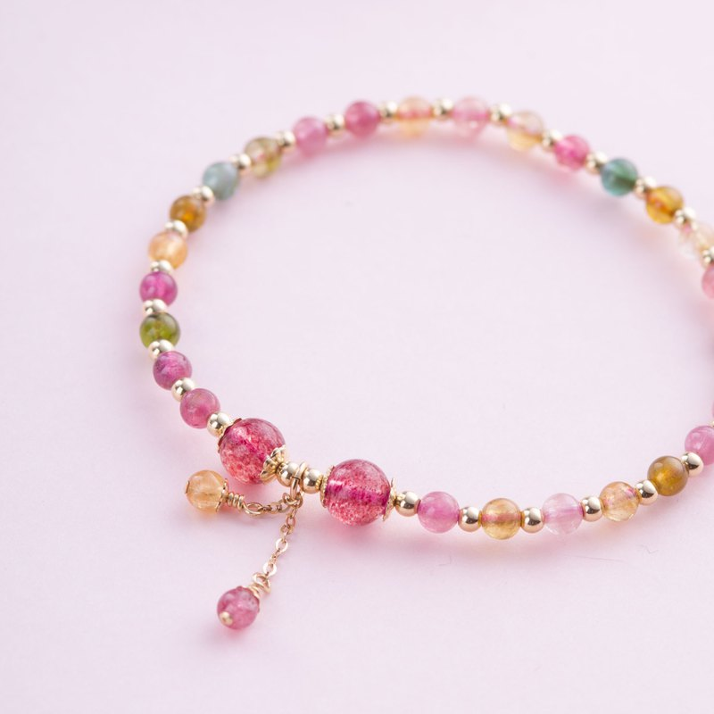 Tourmaline, Strawberry Rose Quartz, 14K Gold Filled Natural Gemstone Crystal Bra