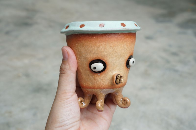 squid plant pot , octopus , handmade ceramic. cactus