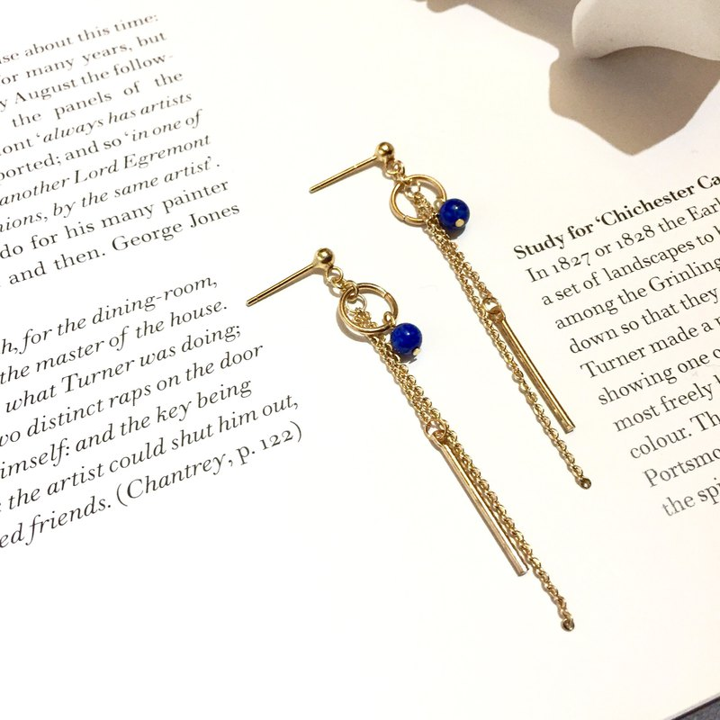 14KGF 14K Gold Lapis Lazuli Simple Earrings