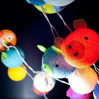 20 Happy Bear - Cotton Ball String Lights for Home Decoration,Party,Bedroom,Patio and Decoration