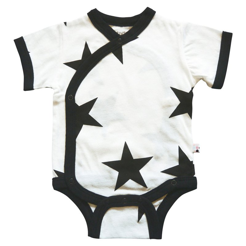 American Babysoy-Organic Cotton Short Sleeve Open-Up Pants _ Cool Black Stars