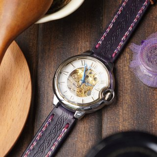 AT - handmade - purple tanned leather handmade strap with automatic watch - (includes  name and decoration buckle) (welcome to order a strap only)