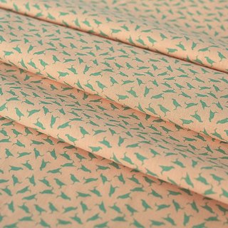 Printed Fabric / Crested Myna No.4 / Pink Peach