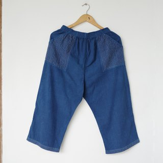Indigo sashiko wide leg pants / indigo dye with hand embroidery