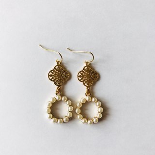 Hollow Metal Pearl Earrings