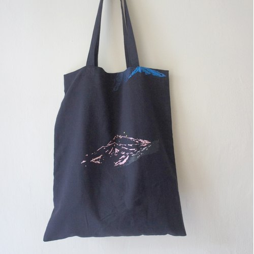 Deep blue light blue black cotton and linen hand-stamped cotton and linen carry bag /